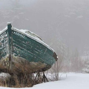 Boat with snow